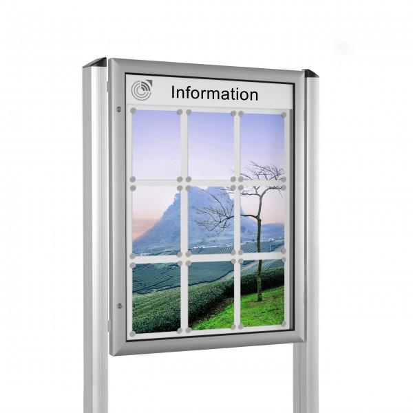 InfoSelect® FLACHSCHAUKASTEN mit Ständern 9 x DIN A4