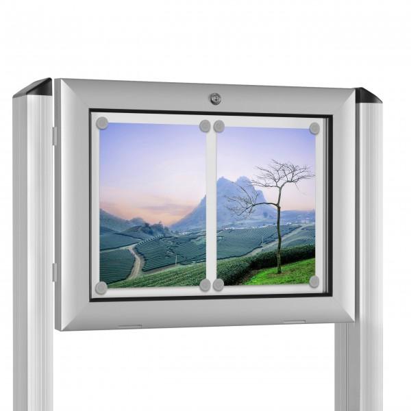 InfoSelect® FLACHSCHAUKASTEN mit Ständern 2 x DIN A4