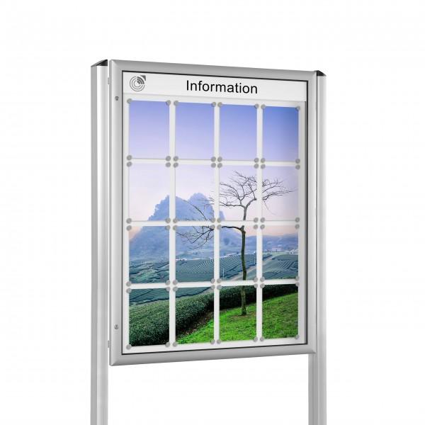 InfoSelect® FLACHSCHAUKASTEN mit Ständern 16 x DIN A4