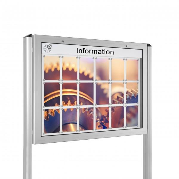 InfoSelect® KANTLINE-SCHAUKASTEN mit Ständern 18 x DIN A4