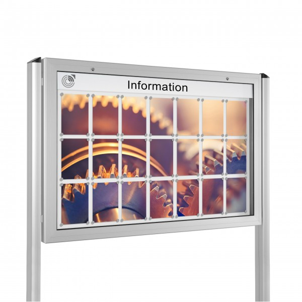 InfoSelect® KANTLINE-SCHAUKASTEN mit Ständern 21 x DIN A4