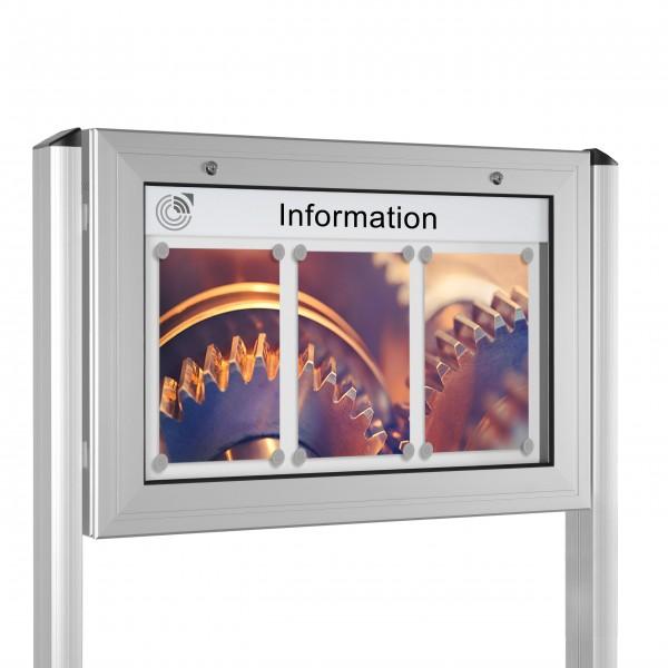 InfoSelect® KANTLINE-SCHAUKASTEN mit Ständern 3 x DIN A4