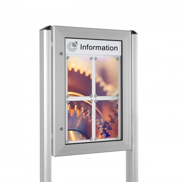 InfoSelect® KANTLINE-SCHAUKASTEN mit Ständern 4 x DIN A4