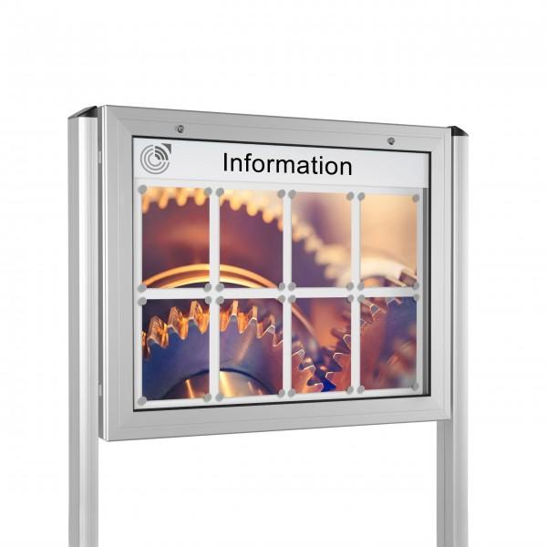 InfoSelect® KANTLINE-SCHAUKASTEN mit Ständern 8 x DIN A4