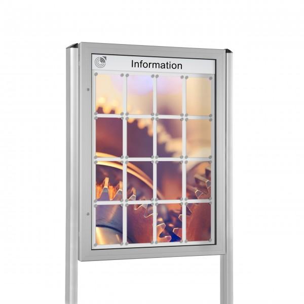 InfoSelect® KANTLINE-SCHAUKASTEN mit Ständern 16 x DIN A4