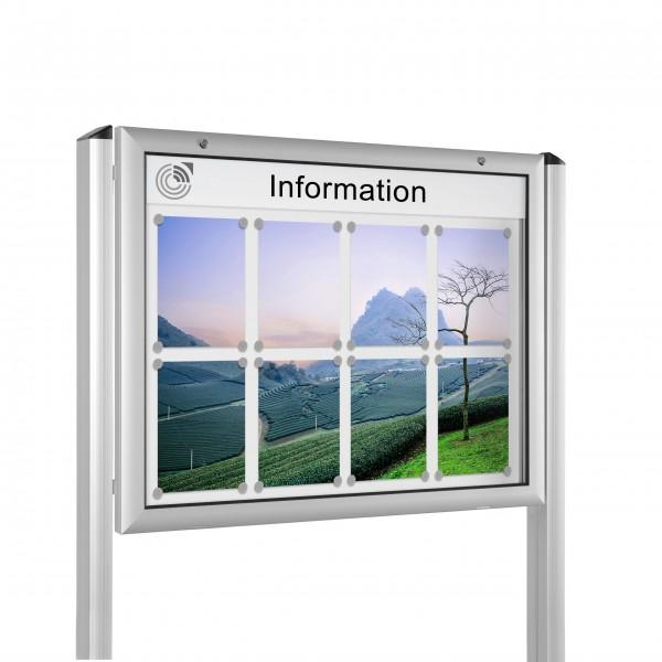 InfoSelect® FLACHSCHAUKASTEN mit Ständern 8 x DIN A4