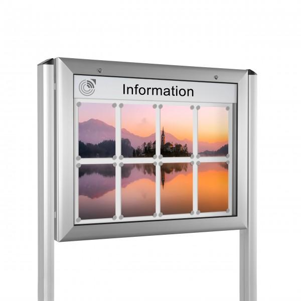 InfoSelect® SOFTLINE-SCHAUKASTEN mit Ständern 8 x DIN A4