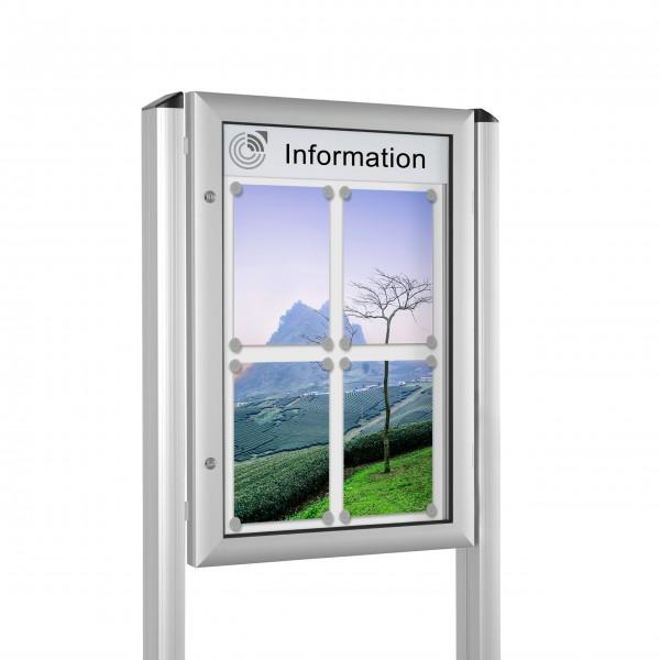 InfoSelect® FLACHSCHAUKASTEN mit Ständern 4 x DIN A4