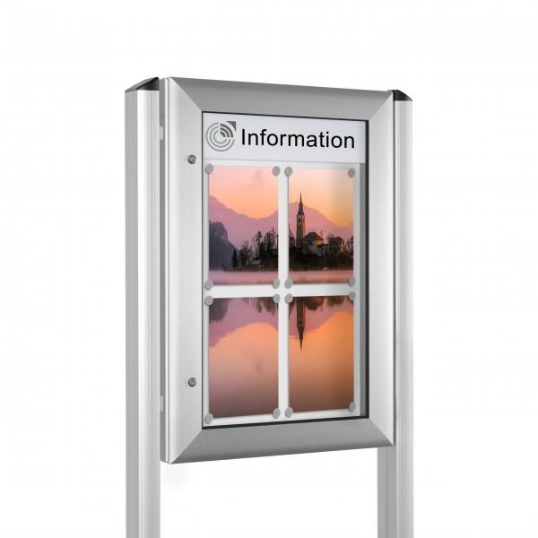 InfoSelect® SOFTLINE-SCHAUKASTEN mit Ständern 4 x DIN A4